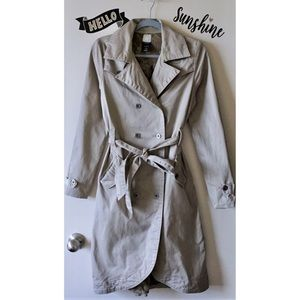 Classic Cream Light Tan Beige Trench Coat Jacket S
